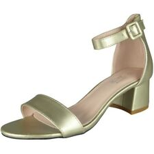 Womens Ankle Strap Shoes Ladies Shiny Party Buckle Chunky Low Heel Sandals Size Gold UK 5 / EU 38 / US 7