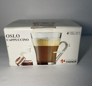 4 Bormioli Rocco Fidenza OSLO Cappuccino Mug Cup Glass w/ Metal Handle Italy