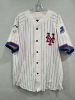 Rare Vintage 80s 90s Starter New York Mets Pinstripe Script Jersey Mens XL