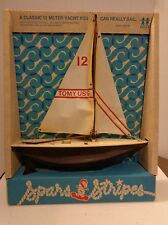 Vtg Tomy Toys Classic 12 Meter Yacht Spars & Stripes Toy Lake Boat Nip Sailboat