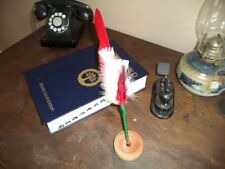 Feather Quill Pen, Calligraphy Quill Christmas Colors with Stand Fa14