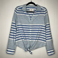 Vineyard Vines Women's Striped Tie Front Button Shirt Blue White Linen Cotton 10