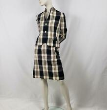 Vintage Sports Galore Skirt Suit Petite Size 8A Ivory Black Plaid Pockets Silk