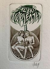 V. JAKSTAS Erotic Nude Man Woman Palm Tree Bubble Exlibris Copper Engraving