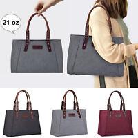 Large Women Cotton&Leather 15.6'' Laptop Handbag Travel Work Tote Shoulder Bag