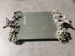 "Jay Strongwater ""LIKE"" Enameled Vanity Mirror Tray Butterflies Flowers"