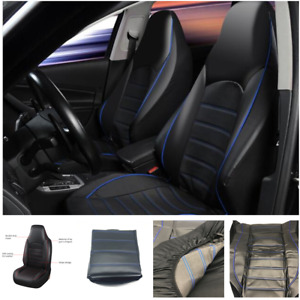 Black+Blue Leather Auto Car Seat Covers Full Synthetic Set 2 Front Seat Covers