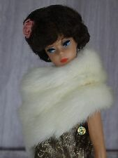 "AllforDoll WHITE MINK Fur BOA for 11.5"" Vintage Silkstone Barbie Fashion Dolls"
