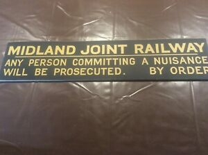 Vintage Rail Sign Advertising Midland Joint Railway Notice Prosecuting Nuisance