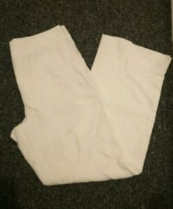 "M&S Ladies Womens 100% Linen Wide Leg 30"" Trousers Size UK 12 pockets!"