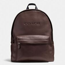 Coach Charles Sport Calf Leather Large Backpack Book Bag Mahogany Brown