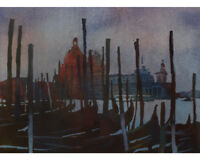 Watercolor painting gondola boats in Venice, Italy at sunset.  Watercolor print