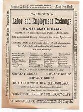 1872 Advertisement California Labor & Employment Exchange San Francisco CA