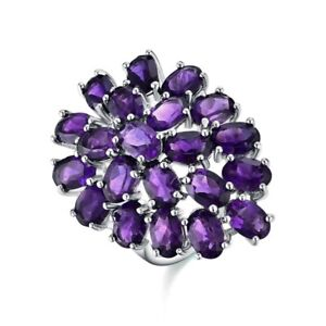 Natural African amethyst Ring Water Drop Design 925 Sterling Silver, PURPLE1