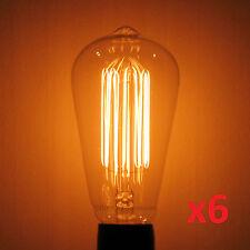 6-Pack LUMIN 60 Watt Edison MARCONI Squirrel Cage Antique Light Bulb 60W Amber