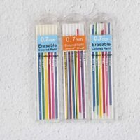 3 Boxes 0.7mm Colored Mechanical Pencil Refill Lead Erasable Student Stationary