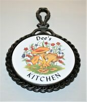 "Vintage Cast Iron Ceramic Tile Trivet Kitchen Wall Hanging ""Dee's Kitchen"""