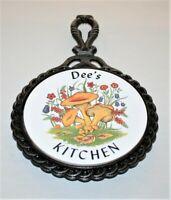 "Vintage Cast Iron Ceramic Tile Trivet Kitchen Wall Hanging ""Dee's Kitchen"""