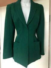 Thierry Mugler Jacket Blazer GREEN Vintage Dead Stock Wasp Waist Wool 38/40