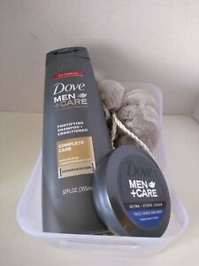 Dove Men & Care Gray Shampoo and Conditioner Face Hands Body White Gift Basket