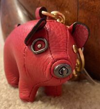 COACH PIG PLUSH LEATHER KEYCHAIN FOB Ring BAG Purse CHARM F66907 BRAND NEW🐖🐖