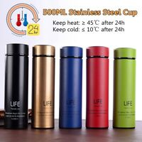 Coffee Mug Cup Flask 500ML Stainless Steel Leakproof Insulated Thermal Travel
