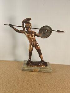 Hellenic Art Leonidas Of Sparta  Figurine On Marble Base Heavy High Quality