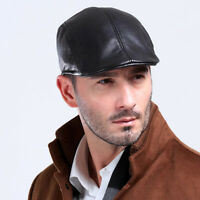 100% GENUINE Leather Ivy Cap Mens Black Gatsby Newsboy Hat Golf Driving Flat Hat