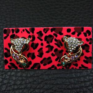 Betsey Johnson Women's Fashion Yellow Enamel Crysta Fox Stud Earrings Gift