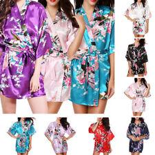 FLORAL SATIN ROBE Kimono Women Dressing Gown Nightgown Wedding Bride Bridesmaid