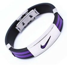 Purple Nike Sports Stainless Steel  Silicone Wristband Bracelet