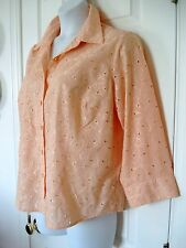 NWOT Ruby Rd WOMEN'S 16 W L/S Eyelet EMBROIDERED Blouse ORANGE Peach