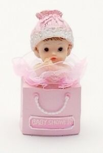 """2 Pcs Baby Girl in a Gift Bag Shower Favor Cake Top Decoration 4.5"""" X 2"""""""