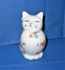 "Porcelain Floral & Butterflies Plug in Cat Night Light  Kitty Nite Light 6"" tall"