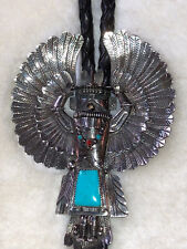 Silver 925 Native Navajo Handcrafted Bolo Tie Turquoise Indian Dancer Sterling