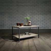 Industrial Style Coffee Table with Shelf Black Metal Frame & Sonoma Oak
