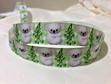"1 Metre Koala 7/8"" Grossgrain Ribbon Scrapbook, Hair Bow"
