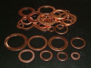 """40 Assorted Imperial Copper Washers 1/8""""BSP to 1""""BSP"""