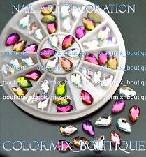 #R48 Nail Art Decoration Teardrop White&Dazzling Multi_color Glitter Rhinestones