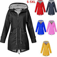 Women Long Trendy Sleeve Hooded Wind Jacket Ladies Outdoor Waterproof Rain Coat