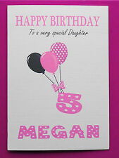 PERSONALISED 5th Birthday Card, Baby GIRL Balloons, FIFTH Birthday Card Age 5