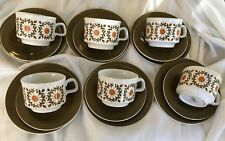 RETRO STAFFORDSHIRE POTTERIES ENGLISH TRIOS X 6 IN EX COND. - ORANGE DAISIES
