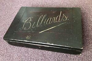 "Antique Snooker Billiards Balls Box c1900 Mahogony Takes 2"" Diameter Balls"