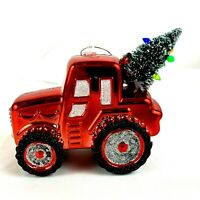 Red Tractor with Tree Christmas Ornament Shiny
