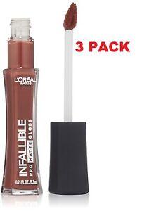 3 PACK L'Oréal Paris Infallible Lip Pro Matte Gloss Statement Nude 0.21 fl. oz.
