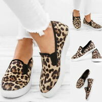 Women Casual Leopard Print Flat Shoes Comfy Slip-on Round Shoes Platform Shoe MA