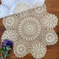 "Vintage Hand Crochet Lace Tablecloth Round Table Cloth Doily 35"" Floral Pattern"