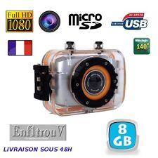 Caméra Sport + 8Go Full HD 1080P DV 140° Grand Angle 10 mètres étanche Caméscope