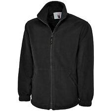 Mens Womens Uneek Unisex Classic Full Zip Work Leisure Warm 300gsm Fleece Jacket Black 4xl