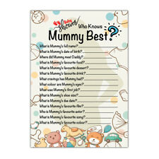 Who Knows Mummy Best Baby Shower Party Games | Set of 10 Cards Baby Shower Games